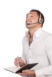 Asian young man wearing headphones with microphone Stock Photography