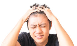 Asian young mandepression with hand on forehead Stock Image