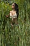 Asian Young Model Near Grass Royalty Free Stock Photos