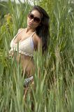 Asian Young Model Near Grass Royalty Free Stock Photography