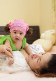 Asian young mom hold baby. Stock Photography