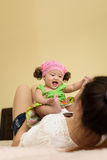 Asian young mom hold baby. Stock Photo