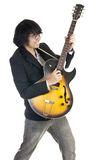 Asian young musician playing guitar. Isolated on white background Stock Photos