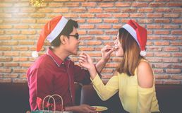 Asian young people enjoy Christmas parties on their holidays. stock image
