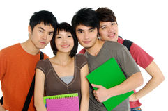 Asian  young students. 4 Asian casual groups of college students smiling on a white back ground Stock Photography