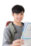 Asian young traveler look a map Royalty Free Stock Image