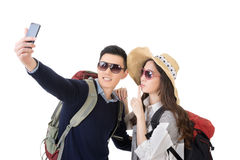 Asian young traveling couple selfie Stock Photo