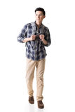 Asian young traveling man walking royalty free stock photos