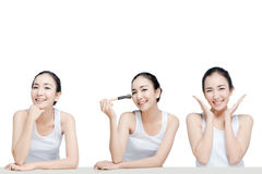 Asian young woman beautiful smile ,concept for beauties cosmetics present set on white background Royalty Free Stock Photos