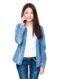 Asian young woman chat with mobile phone Royalty Free Stock Photo