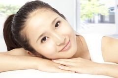 Asian young woman face Stock Photography
