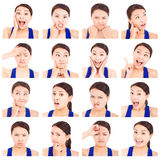Asian young woman facial expressions Royalty Free Stock Photography