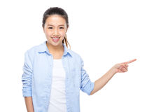 Asian young woman finger up Royalty Free Stock Image