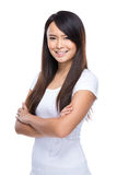 Asian young woman fold arm Royalty Free Stock Images