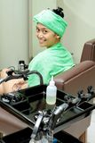 Asian young woman at hairdressing salon Stock Image
