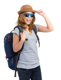 Asian young woman hand hold with hat Stock Photo