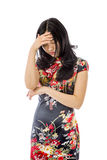 Asian young woman hiding her face Stock Photography