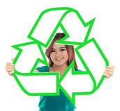 Asian young woman holding recycle sign Stock Photography