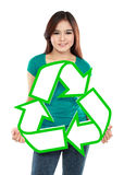 Asian young woman holding recycle sign Royalty Free Stock Photography
