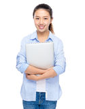 Asian young woman with laptop computer Royalty Free Stock Photos