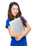 Asian young woman with laptop Stock Photography