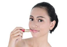 Asian young woman with lipstick Stock Image