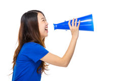 Asian young woman with loudspeaker Stock Image