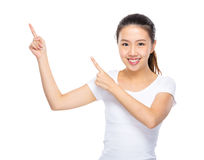 Asian young woman present finger up Royalty Free Stock Image