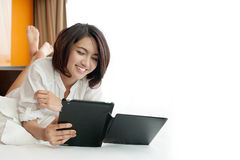 Asian Young woman reading Stock Photo