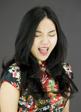 Asian young woman shouting Royalty Free Stock Photography