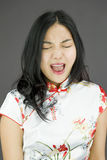 Asian young woman shouting Royalty Free Stock Image