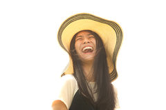 Asian young woman smiling and happiness. . Royalty Free Stock Images
