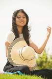 Asian young woman smiling and happiness. . Royalty Free Stock Image
