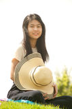 Asian young woman smiling and happiness. . Royalty Free Stock Photos