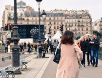 Asian young woman on street in Paris royalty free stock images