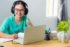 Free Asian Young Woman Student Looking One Thumb Up Royalty Free Stock Photo - 214422815