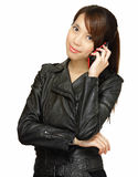Asian young woman talking on phone Stock Images