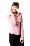 Asian young woman talking on the phone Stock Images