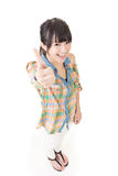 Asian young woman thumbs up Royalty Free Stock Photo