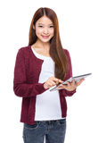 Asian young woman use digital tablet Stock Images