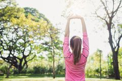 Asian young woman warm up the body stretching before morning exercise and yoga in the park under warm light morning. royalty free stock photos