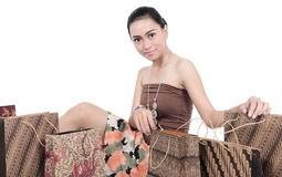 Asian young women with shopping bags Stock Photo