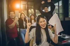 Asian younger freelance teamwork job successfull happiness emot. Ion stock images