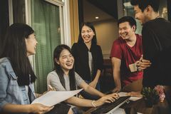 Asian younger freelance teamwork job successfull happiness emot Royalty Free Stock Images
