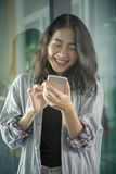 Asian younger woman laughing with happiness emotion looking and Stock Images