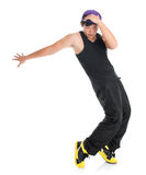 Asian youth hip hop dancer. Full body cool looking young Asian teenager dance hip hop on white background. Asian youth culture royalty free stock photo