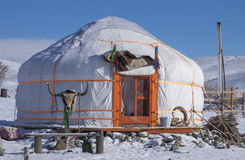 Asian yurt in the winter Stock Photography