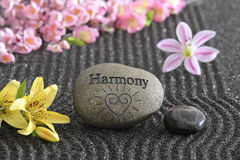 Asian zen garden. With harmony and sand Stock Photos