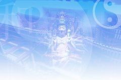 Asian Zen Soothing Abstract Collage Background. In Blue Stock Illustration