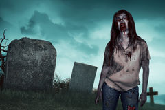 Asian zombie woman on the cemetery Royalty Free Stock Image